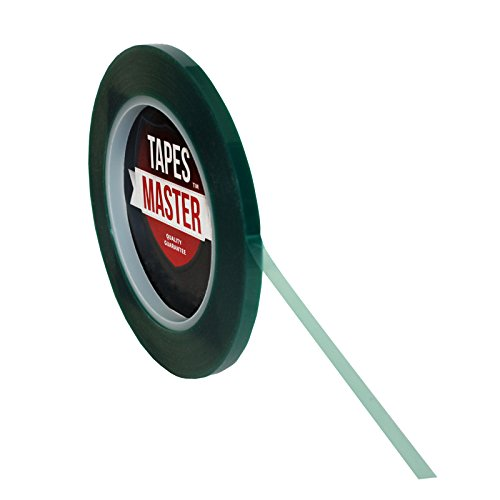 "1/4"" X 72 Yds - Tapes Master 2 Mil Green Powder Coating Masking Tape - High Temperature"