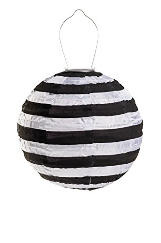 Allsop Home and Garden Soji Black & White Stripe, LED Outdoor Solar Lantern, Handmade with Weather-Resistant UV Rated Fabric, Stainless Steel Hardware, Chinese Style Light, 1-Count