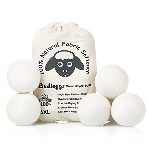 Budieggs Wool Dryer Balls Organic XL 6-Pack, 100% New Zealand Chemical Free Fabric Softener for 1000+ Loads, Baby Safe & Hypoallergenic, Reduce Wrinkles & Shorten Drying Time Naturally (Best Dryer Sheets For Pet Hair)