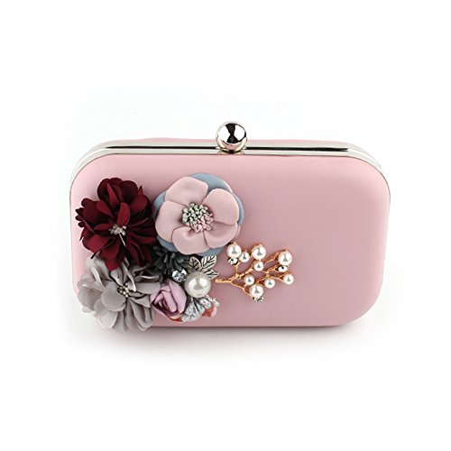 Cocktail Beaded Party Women Evening Flower for Clutches Pink Purses Handbag Pearl Wedding qSztxZwt4