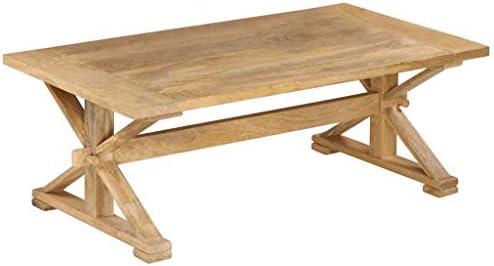 Kopen Tidyard handgemaakte salontafel tafel van massief mangohout 10 x 60 x 40 cm (L x B x H), woonkamertafel koffietafel softafel kruisbeenuitvoering, bruin  ADOwZ4I