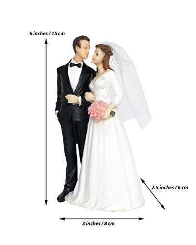 Wedding Cake Topper Funny & Romantic Groom And Bride holding hands with flowers Figurine | Toppers For Wedding Cakes Decoration | Hand Painted & Unique Figurines by zy retail (Image #3)