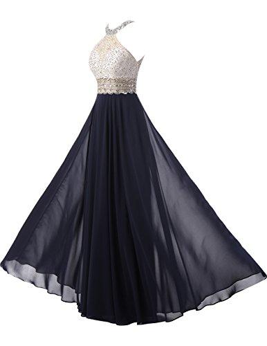 Dresstells®Vestido De Fiesta Elegante Largo De Gasa Con Cuentas Halter Azul Real