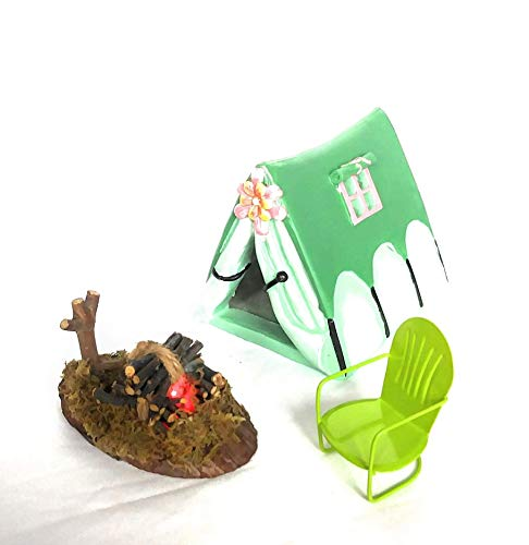 TFC Fairy Glamping Camping Tent with Floral Accent, with Light-up Fire Pit, Vintage Style Lawn Chair for Miniature Fairy Gardens Token, - Token Vintage