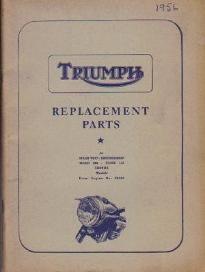 TRP1956 1956 Triumph Replacement Parts Manual