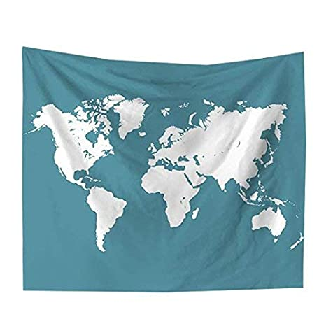 GreenCoves Tapestry Watercolor World map Wall Hanging Tapestry Table ...