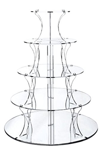 12' Round Serving Tray (Jusalpha 5 Tier Round Elegant Crystal Clear Acrylic Wedding Cupcake Stand Tower/ Cake Stand/ Pastry Serving Platter (5ZJ R))