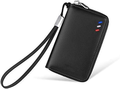 Estuche para llaves de coches, primera capa de cuero unisex llavero multifunción bolsa de llaves bolsa de llaves bolsa de cuero con cremallera cartera hombres gancho negro banda,Black: Amazon.es: Coche y moto