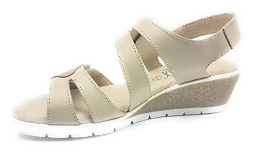 Piel 957 Velcros Cuña Mujer Sandalia Beig Gomez UE8gqP