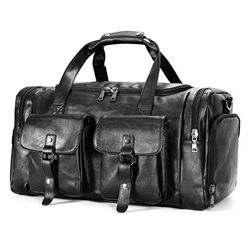 Zeroway Leather Travel Duffel Bag with Shoe Pouch, Carry on Bag Weekender Bag for Men -