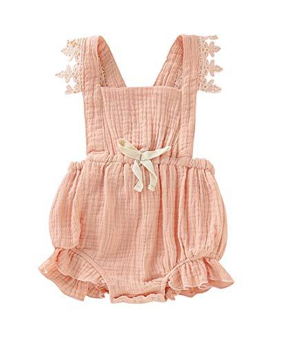 Baby Girls Jumpsuit Newborn Infant Kids Floral Clothes Summer Romper Bodysuit Sundress Outfits (18-24 Months, Pink)