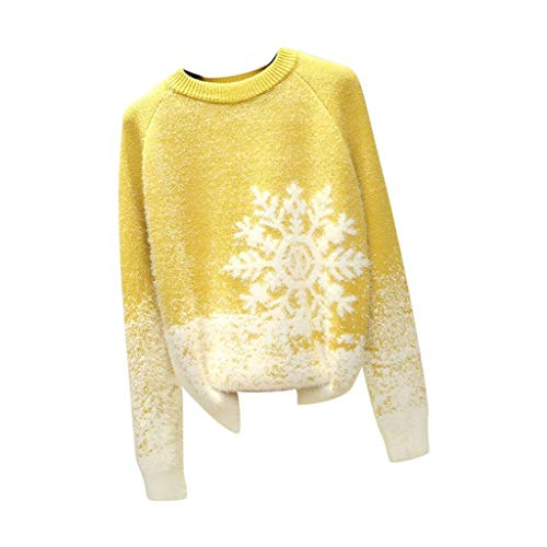 Kmart Halloween Decorations 2019 (iLOOSKR Christmas Warm Knitted Sweater Women Comfy Slim Solid Snowflake Printing Sweater Pullover)