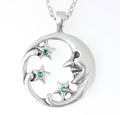 Pewter Moon Face with Stars Pendant on Chain w/ 3 Swarovski Crystals Teal Blue December Birthday ()