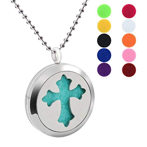 Fashion 30MM Aromatherapy Essential Oil Diffuser Religious Hollow Cross Locket Necklace 316L Stainless Steel Pendant Necklaces Fragrance Jewelry with Free 10 Colors Refill Pads