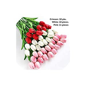 Artificial Tulips 31Pcs Branch Tulip Real Touch Flowers Latex Tulips Flower Artificial Bouquet, Color13 108