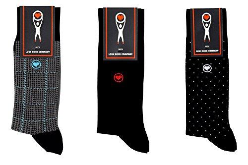 LOVE SOCK COMPANY Black Organic cotton men's dress socks bundle. 3 Premium black socks solid, polka dots and houndstooth patterned socks set by LOVE SOCK COMPANY (Image #7)