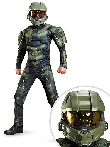 Halo Master Chief Muscle Child Costume Kit Large With Full Helmet -