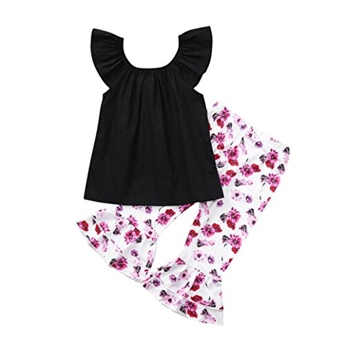 kaiCran Clothing Baby Girls Sets Off Shoulder Solid Tops Floral Flare Pants Outfits Clothes 1-4 Yrs (Black, 90(12-18 Mons))