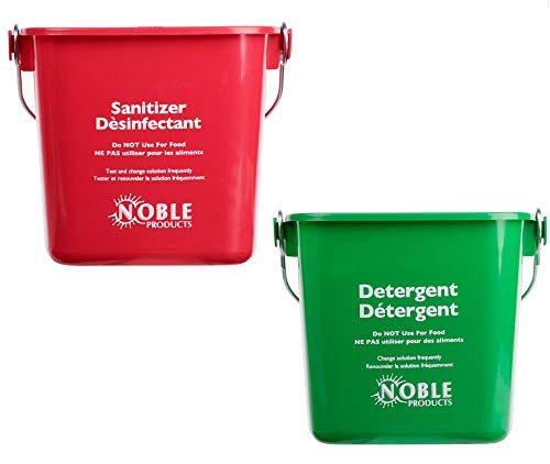 Small Red and Green, Detergent and Sanitizing Bucket - 3 Quart Cleaning Pail - Set of 2 Square Containers ()