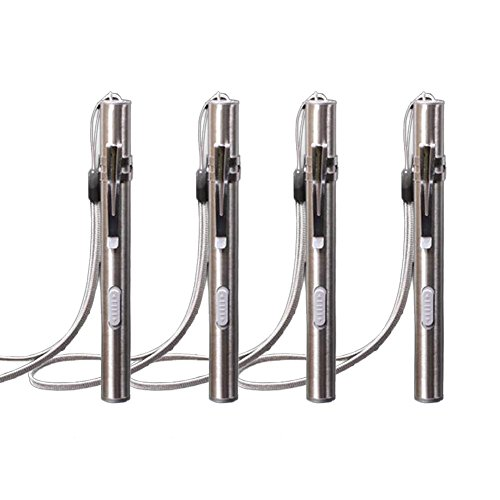 USB Rechargeable Penlight, 4Pcs Stainless Steel 1000 Lumen Mini LED Tactical Penlight Flashlight with Battery and Cable