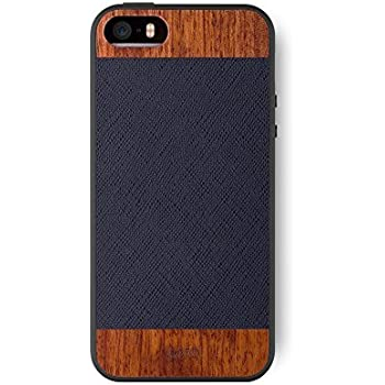 iPhone SE / 5S / 5 Case. iATO Genuine LEATHER & Real WOODEN Premium Protective Snap On Cover. Unique, Stylish & Classy BLACK SAFFIANO LEATHER & ROSE WOOD Accessory for Apple iPhone SE/5S/5