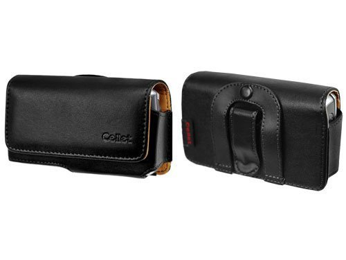 Premium Leather Case Carrying Pouch (With Belt Clip and Belt Loop) for Palm Treo 600, 650, 680, 700, 700wx, 750, 755p / HTC Wing P4350, MDA 8125, 8100, Mogul, PPC-6700, XV6700, 8925 TILT / Samsung i730 , i760 [Retail Packaging]