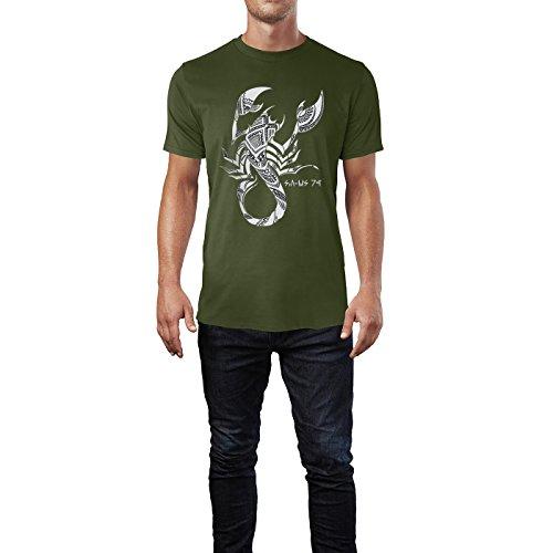 SINUS ART® Handgezeichneter Skorpion im Tribal Stil Herren T-Shirts in Armee Grün Fun Shirt mit tollen Aufdruck