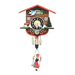 Alexander Taron Importer 129SP Black Forest Chalet Clock with Bouncing Girl Pendulum