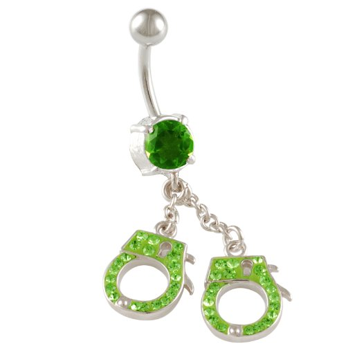 Green Peridot Belly Button Ring - 8