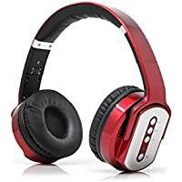 Wireless Flip-Out Headphones FM Radio Build-In Mic AUX Rechargeable RED