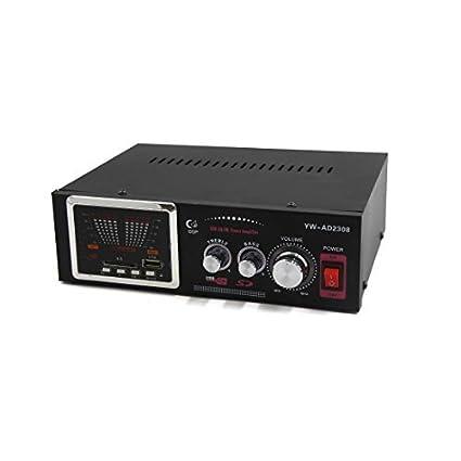 DealMux 12V 2-CH Preto Hi-Fi estéreo Karaoke Amplificador para carro MP3 FM