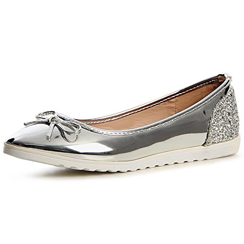 Glossy Topschuhe24 Donna 753 Silver Ballerina Attr6w8qY