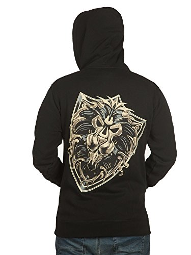 JINX World of Warcraft Men's Alliance Shield Zip-up Hoodie (Black, Large)