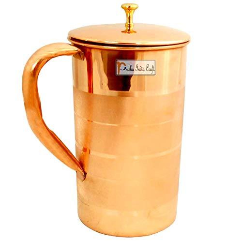 Prisha India Craft Pure Copper Luxury Design Water Jug Pitcher, 1600 ML