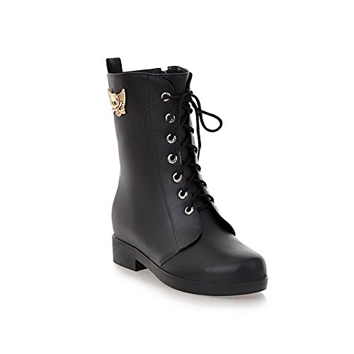 AmoonyFashion Womens Round Closed Toe Low Heels PU Soft Material Solid Boots with Metalornament and Bandage Black ykevZtT