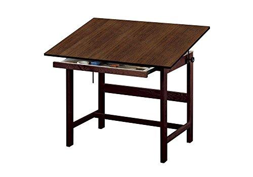 Titan Solid Oak Drafting Table - Walnut Finish, 48