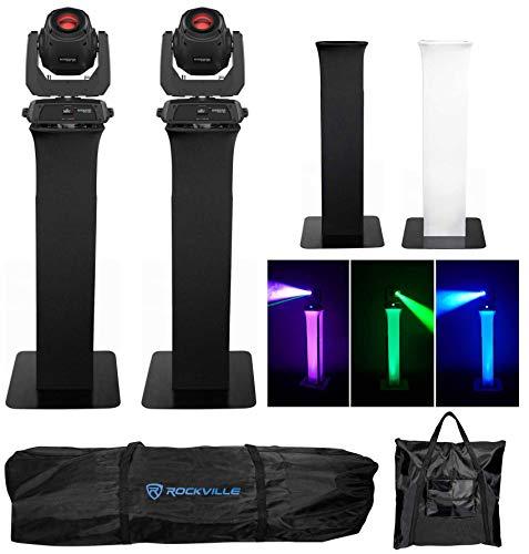 Prism Scrim - (2) Chauvet Intimidator Spot 360 Moving Heads DMX Party Lights+Totem Stands