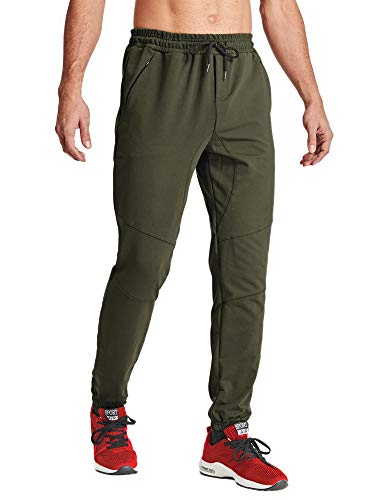 MAGCOMSEN Mens Jogging Pants with Pockets Athletic Pants Spring Pants Active Pants Cycling Pants Training Pants Running Sweatpants for Men Army Green