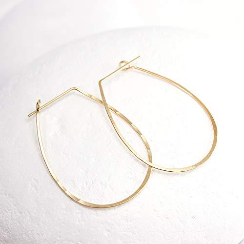 (Hammered Gold Teardrop Hoop Earrings)