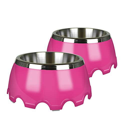 Pet Zone 1550013281 Festiva (3.5 Cup) Pet Bowls, 2 Pack, Medium, Pink
