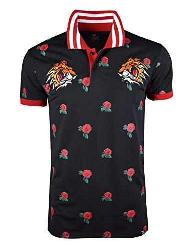 SCREENSHOTBRAND-S11835 Mens Hipster Hip-Hop Premiun Tee - Stylish Fashion Rose Flower Print Tiger Embroidery Polo-Shirts-Black-Large