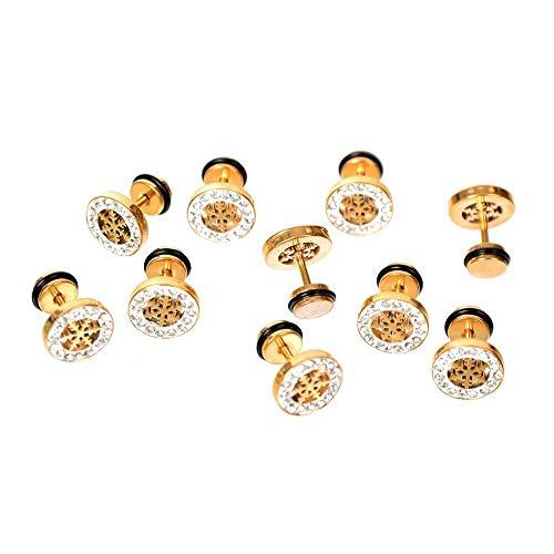 Elegant 1 Pair New Silver Crystal Rhinestone Ear Stud Flower Earring Jewelry | Styles - Style 5 | Gold |