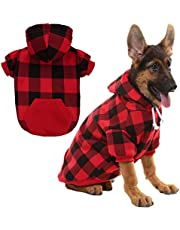 KOOLTAIL Plaid Dog Hoodie for Large Dogs Pet Clothes, Red XL