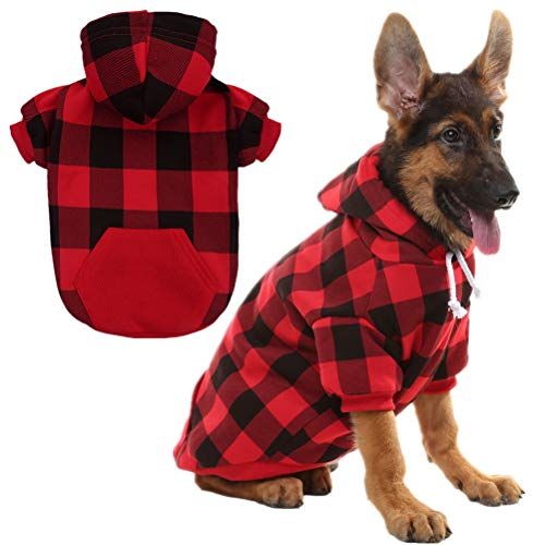 KOOLTAIL Plaid Dog Hoodie for Medium Dogs Pet Clothes, Red M by KOOLTAIL