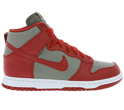 Nike Damen Dunk Retro QS Hallo Top Turnschuhe 854340 Turnschuhe Weiches Grau / Universität Rot