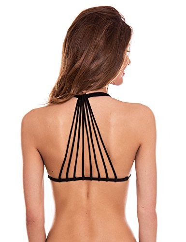 (RELLECIGA Womens Bikini Top With Totally Handmade Multi-Strap at Back Black Medium )