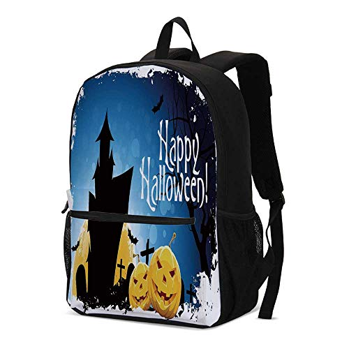 Halloween Fashional Backpack,Gothic Ancient Castle Moon Cruciform Graveyard Tree Silhouette Abstract for School Travel,12.2