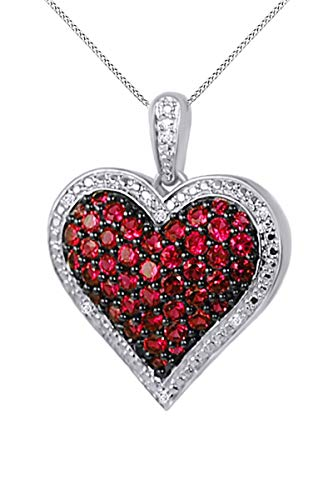 - Jewel Zone US 1 Ct. Simulated Ruby & Natural Diamond Heart Pendant Necklace 14k White Gold Over Sterling Silver
