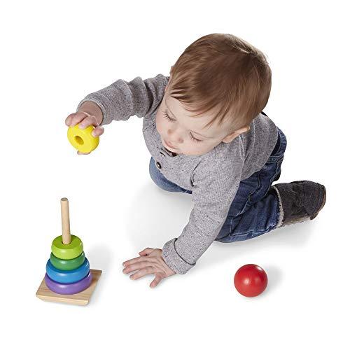 Melissa & Doug Rainbow Stacker Classic Toy (Developmental Toys, Superior Craftsmanship, 8 Smooth Rings, Solid Wood Base)