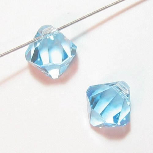 Swarovski Crystal Beads Top Drill - Dreambell 12 pcs Swarovski Elements Crystal 6301 Top Drill Bicone Bead Aquamarine 6mm / Findings / Crystallized Element